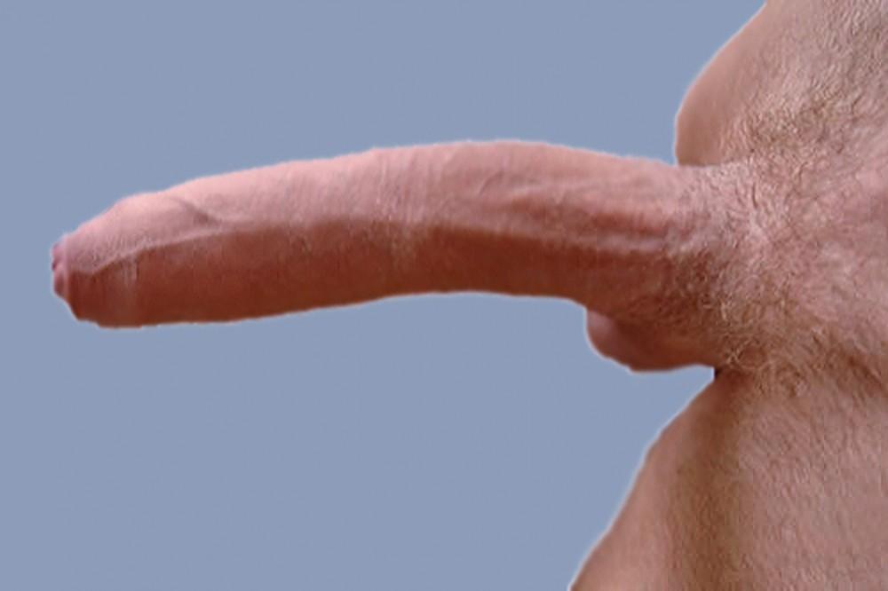 Grote blanke penis staat stijf